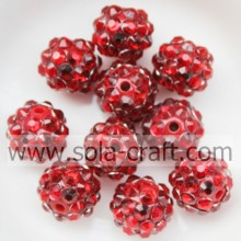 Fashion Acrylic Red Resin Rhinestone Solid Beads10*12MM For DIY Jewelry