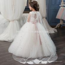 Hohe Qualität Korean Frock Designs Kinder Weiß Eine Linie Lange Mädchen Spitzenkleid
