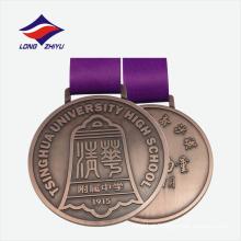 Antique cobre cor agradável design medalhas de maratona de metal barato