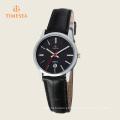Moda de aço inoxidável de couro mulheres ′ s analógico relógio de quartzo 71113
