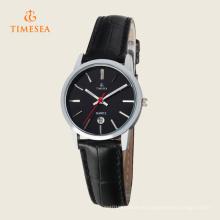 Reloj de cuarzo analógico de cuero de acero inoxidable para mujer 71113