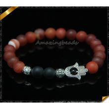 Natürliche Matte Edelstein Armbänder mit Alloy Charms Zubehör (CB096)