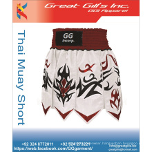 Men's boxing garment 100% polyester satin printed mma muay thai boxing shorts