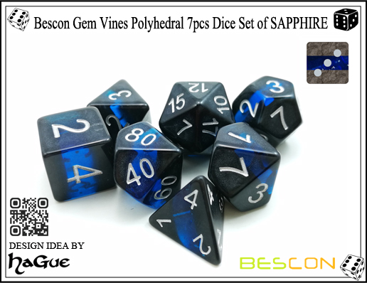 Bescon Gem Vines Polyhedral 7pcs Dice Set of SAPPHIRE-3