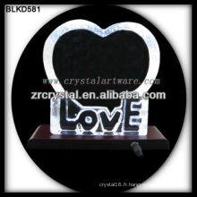 Amour en cristal blanc pour la gravure laser 3d