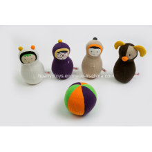 Factory Supply Knit Sweater Fabric Baby Stuffed Bowling with Rattle Toy