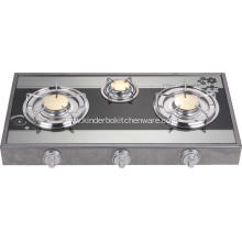 3 Burner Mirror Glass Top Brass Burner Europe Range