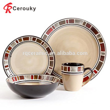 Custom 8pcs antique design western ceramic dinnerware set