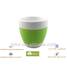 300cc belly shape mug with silicone band