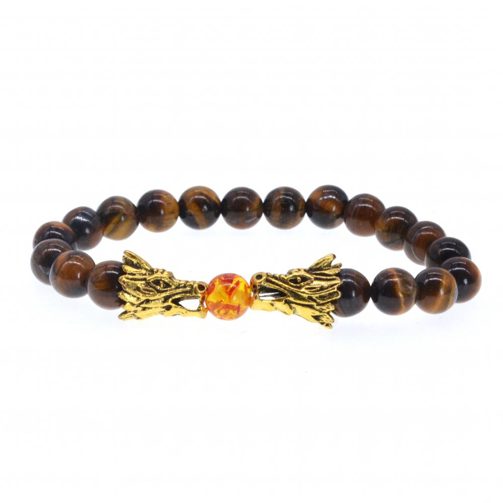 Hommes Dragon Perles Tiger's Eye Charms Bracelet extensible