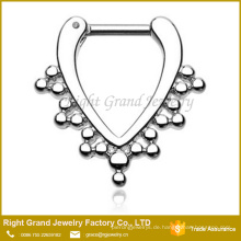 Silber vergoldet Septum Clicker Tribal Nase Piercing Ring 16G