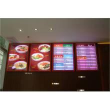 Exposição de diodo emissor de luz da propaganda da bebida e do alimento do restaurante