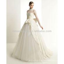 Nuevo 2014 recibió la boda nupcial de la vendimia del vestido de bola del cordón de la manga larga del cuello de los vestidos de boda La nueva lleva nupcial NB001