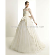 New 2014 Welcomed Wedding Dresses High Neck Long Sleeve Lace Ball Gown Vintage Bridal Wedding Wears NB001