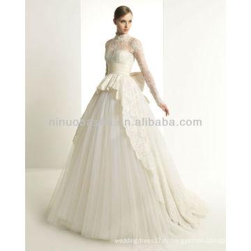 Новый приветствовала 2014 свадебные платья высокая шея с длинным рукавом кружева бальное платье старинные Свадебные Свадебные наряды NB001