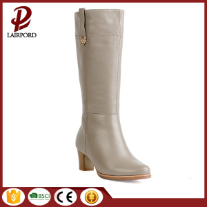 winter genuine leather with fur long boots