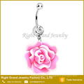 Blooming Resin Flower Dangle Crystal Belly Button Navel Ring Lot Piercing Body Jewelry