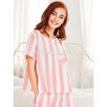 Милый белый и розовый в полоску с коротким рукавом летом пижамы оптом производство модной женской одежды (TA0004P)