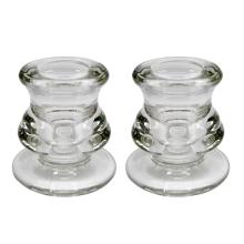 Transparent Clear Glass Taper Candle Holders