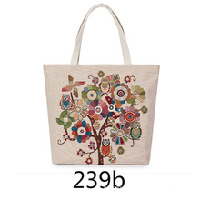 Custom Logo Embroidered Large Tote Zipper Shoulder Shopping Canvas Bag with Zipper