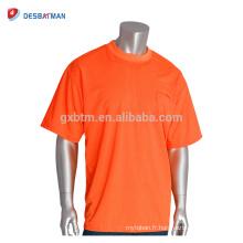 Vente chaude haute visibilité Fluo Orange sécurité T-shirt de couleur respirante manches courtes Workwear avec personnaliser l'impression de logo
