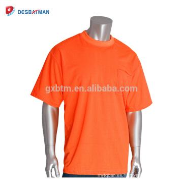 Venta caliente de Alta Visibilidad Fluo Naranja Camiseta de Seguridad a Todo Color Transpirable Manga Corta Workwear Con Personalizar Impresión de Logotipo