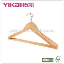 Массовые плоские вешалки для вешалок из бамбука с круглой планкой и пазами