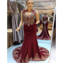 2017 Suzhou especial de diseño bordado de oro satinado material sexy vino rojo sirena vestidos de noche