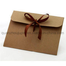 OEM Packaging Kraft Paper Envelope with Silk Ribbon Bowknot