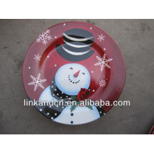 KC-02538ceramic plates with snowman,funny round flat pizza/cake plates