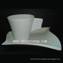 Taza y platillo de porcelana (CY-P539)