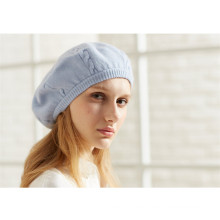 winter ladies solid color knitted cashmere beret hats