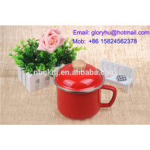 Red color Enamel mug with enamel lids/glass lids/metal lids