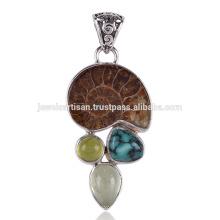 Solide Silber Handgefertigte Ammonit und Türkis Anhänger auf besten Preis