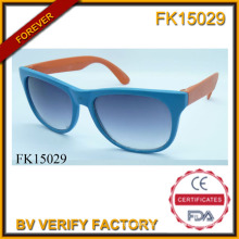 Gafas de sol de marco de la PC de costura (FK15029) de dos colores
