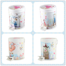 Korean Style Cartoon Printed Foot Pedal Trash Bin (FF-5302)