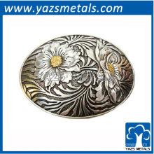 personnaliser les boucles de ceinture, ovale en métal sur mesure avec boucle de ceinture de fleurs