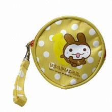 Round Coin Purse, Bright Yellow Color with Cute Rabbit Printing, 1 Zipper Open, Hand Strap