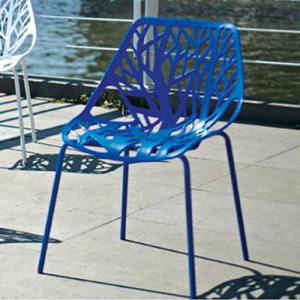 Contemporary Cut-Out Tree Design Plastic Dining Chairs