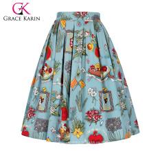 Grace Karin Vintage retro A-Line falda plisada de algodón de impresión 5 patrones CL010401-2