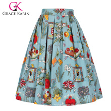 Grace Karin Women's Vintage Retro A-Line Pleated Cotton Print Skirt 5 Patterns CL010401-2