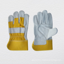 CE Approved Cow Split Leather Work Glove Cotton Back