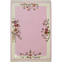 4'x6' Pink Handwoven Wool Silk Rug