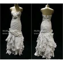 2017 Tafetá Sweetheart Spaghetti Strap Layered Evening Dress Vestido de baile com plissados BYE-14058