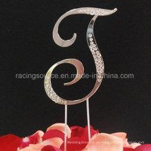 Diamantee parcial letra de la letra francesa Topper de pastel de bodas para la decoración de la boda