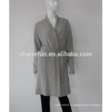 Mesdames tricoté Cachemire peignoir robe robe chine usine en gros en 12gg 100% cachemire
