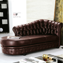 Antik Deri Chesterfield Şezlong Sofa