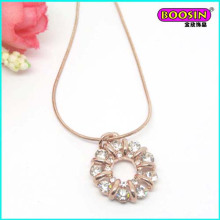 Nice Rose Gold Custom Made Wholesale Crystal Pendant Necklace