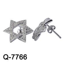Новый дизайн 925 стерлингового серебра серьги шпильки Белый CZ