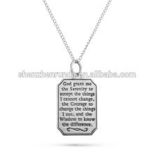 Haute qualité en acier inoxydable Serenity Prière Engravable Dog Tag Pendant Hope Wisdom Courage Faith